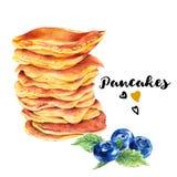 Hand drawn set of homemade delicious pancakes Stock Photos