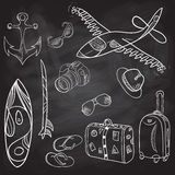 Hand-drawn set of icons  summer, vacation, school board Stock Image