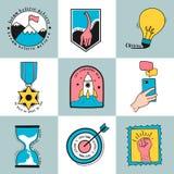 Hand drawn set of idea and business symbols illustration vector illustration