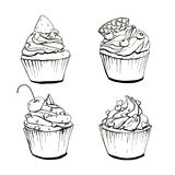 Hand drawn set of isolated graphic cupcakes on white. Background Royalty Free Stock Photo