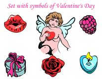 Set with symbols of Valentine`s Day. Hand-drawn set with isolated symbols of Valentine`s Day: lips, cupid, raspberry, gift box, rose, candle. Colorful objects Stock Photography