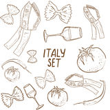 Hand drawn set of Italy Stock Image