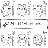 Hand drawn set of japanese style baby animals. Stock Images