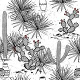 Hand drawn set with jars, saguaro, blue agave, and and prickly pear.  Royalty Free Stock Images