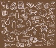 Hand drawn set : kitchen - food Stock Photos