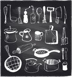 Hand drawn set of kitchen utensils chalkboard. Stock Photos