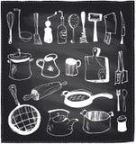 Hand drawn set of kitchen utensils chalkboard. Stock Photos