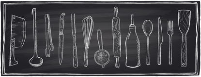 Hand drawn set of kitchen utensils on a chalkboard. Royalty Free Stock Photography