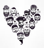 Hand drawn set of men f with stylish facial hair. Royalty Free Stock Images