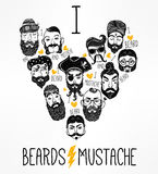 Hand drawn set of men f with stylish facial hair. Stock Photography