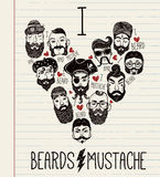 Hand drawn set of men f with stylish facial hair. Stock Images