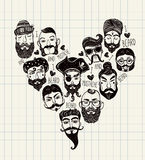 Hand drawn set of men f with stylish facial hair. Stock Photo