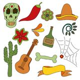 Hand drawn set of mexican symbols - guitar, sombrero, tequila, skull Stock Images