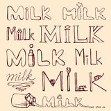 Hand drawn set of milk words. Lettering. Vector Royalty Free Stock Photography