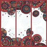 Hand drawn set of  motley tribal cards Stock Photos
