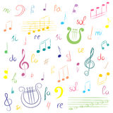 Hand Drawn Set of  Music Symbols. Colorful Doodle Treble Clef, Bass Clef, Notes and Lyre. Sketch Style. Vector Illustration Stock Image