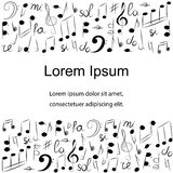 Hand Drawn Set of  Music Symbols.  Doodle Treble Clef, Bass Clef, Notes and Lyre. Template with Place for Text in Center. Vector Illustration Stock Photography