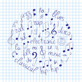 Hand Drawn Set of Music Symbols. Doodle Treble Clef, Bass Clef, Notes and Music Styles Arranged in a Circle on Copybook Sheet. Stock Photo