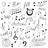 Hand Drawn Set of Music Symbols and Styles. Doodle Treble Clef, Bass Clef, Notes and Lyre. Lettering of Blues, Electronic, Jazz, Stock Images