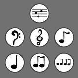 Hand drawn set of musical notes Stock Photo