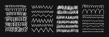Hand drawn set of objects for design use. White Vector doodle lines on black background.  Abstract pencil drawing stripes. vector illustration