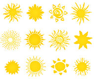 Hand Drawn Set Of Different Suns Icons Stock Photos