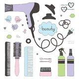Hand Drawn Set Of Hair Styling. Hair Dryer, Hairbrushes, Sprays And Scrunchy. Salon Beauty Care. Soft Colored Sketch On Stock Photos