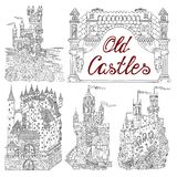 Hand drawn set with old castles and banner frame on white Royalty Free Stock Image