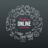 Hand drawn set of online fashion shopping icons Royalty Free Stock Photos