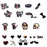 Hand drawn set pet skeleton and heart Stock Photos
