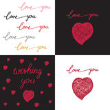 Hand drawn set posters with words love Stock Images