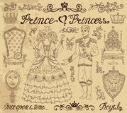 Hand drawn set with prince and princess concept on textured background Stock Photo