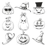 Hand drawn set of pumpkins for Halloween. Vector illustration. In sketch style stock illustration