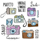 Hand drawn set of retro cameras with lettering Stock Photo