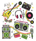 Hand drawn set retro musical equipment. Record player, guitar, headphones, cassette, vinyl, microphone, camera. Hand drawn set retro musical equipment. Record Royalty Free Stock Photos