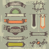 Set of vintage ribbons and labels. Hand-drawn set of retro ribbon, label, frame Vector Illustration