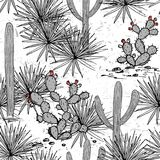 Hand drawn set with saguaro, blue agave, and and prickly pear.   Royalty Free Stock Photo