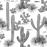 Hand drawn set with saguaro, blue agave, and and prickly pear. Latin American background. Mexican landscape Vector Royalty Free Stock Photo