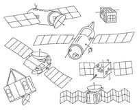 Hand drawn set of satellite outlines. Transparent line art with no fill. Royalty Free Stock Photos