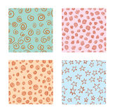 Hand-drawn Set of seamless patterns textures abstract Stock Photo