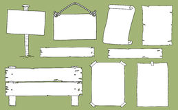 Hand drawn set of signs and notices  on background Royalty Free Stock Photos