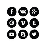 Hand drawn set simple icon social media circle Stock Photography