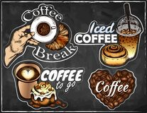 Hand drawn set of sketch coffee logo isolated on chalkboard. Hot drink sticker on blackboard. Iced coffee, espresso, latte, cappuccino, croissant, cinnamon