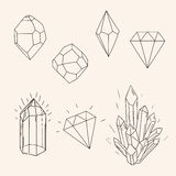 Hand drawn set sketch crystal,diamond and polygonal figure tatto Royalty Free Stock Photos