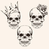 Hand drawn set sketch sculls tattoo design line art. Vintage vec Royalty Free Stock Photography