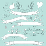 Hand drawn set for a skrabuking, for a wedding card, banners. Stock Photos
