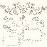 Hand drawn set for a skrapbooks, for a wedding card, banners Stock Image