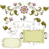 Hand drawn set for a skrapbuking, for a wedding card, banners. Royalty Free Stock Image