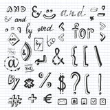 Hand drawn set with social media sign and symbol Stock Images