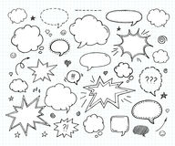 Hand drawn set of speech bubbles Stock Image